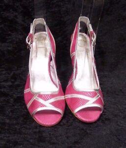 Shellys Womens Summer Pink Fuchsia Peep Toe Sling Back Sandals Size Uk 5 Eu 38