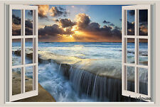 Ocean Sunset Beach Window View Repositionable Color Wall Sticker Wall Mural 36""