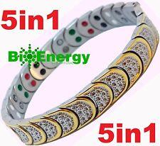 Jade Pulsera de alimentación de energía magnética germanio Salud De Acero Inoxidable 5in1 Brazalete Bio