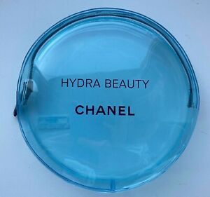 CHANEL COSMETIC/MAKEUP BAG POUCH CLUTCH ROUND CLEAR BLUE VIP GIFT