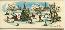 VINTAGE CHRISTMAS VILLAGE TRIMMING TREE 1 FARM BARN CAT DOG COW CHICKENS CARD
