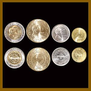 Philippines 25 Sentimos 1 5 10 Piso (4 Pcs Coin Set), 2005-2012 Unc