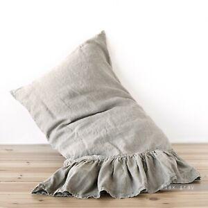 Pillow case Linen RUFFLE PILLOW SHAM Queen King Body Pillow Boudoir Washed