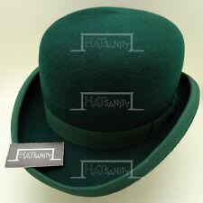 VINTAGE Wool Felt Bowler Hat Men Derby FORMAL Hard Crown Unisex   61cm   Green
