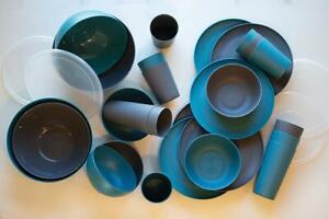Mainstays Plastic 32 Piece Dinnerware Set Teal & Gray Plates Bowls Cups Serve Bo