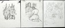 Illustrations,Lot Of 3 Sketches,SAMVEL GEVORGYAN,Armenia,Armenian Art,Armenien
