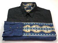 Roper 3XL Western Cowboy Rodeo Tribal Pearl Snap Shirt Men's Long Sleeve XXXL