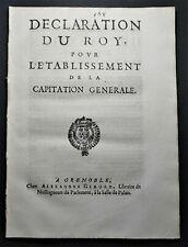 [DROIT] DECLARATION DU ROY pour l'ETABLISSEMENT de la CAPITATION GÉNÉRALE 1695