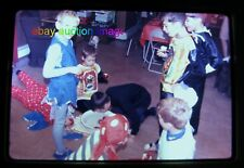 1968 Orig Slide~ HALLOWEEN COSTUME Kids BOB FOR APPLES~Vtg photo Bobbing~35mm