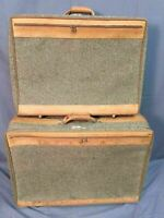 Hartmann Tweed Rolling Luggage Vintage Leather Trim Wheeled Travel Lot Made USA