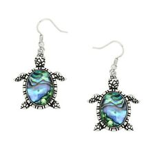 Sea Turtle Fashionable Earrings - Fish Hook - Abalone Shell - Sparkling Crystal