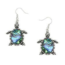 Sea Turtle Fashionable Earrings - Fish Hook - Abalone Shell - Sparkling Crystal