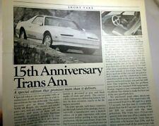 Pontiac Trans Am 1984 Csaba Csere Car Driver Magazine clipping advertisement Ad