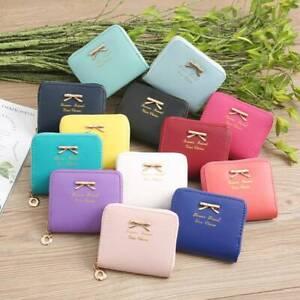 Women Bowknot Mini Wallet Change Coin Small Purse Card Holder Clutch Handbags