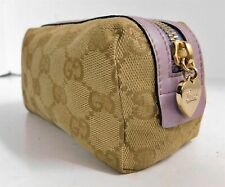 Gucci Brown GG Monogram Canvas Lavender Leather Zip Cosmetic Clutch Bag