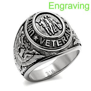 Men's Stainless Steel 316 US United States Veteran Military Ring