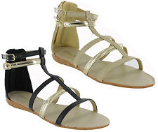 Gladiator Open Toe Flip Flop Buckle Small Wedge Womens Summer Sandals UK3-9