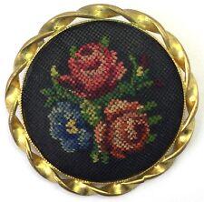 VINTAGE PETIT POINT JEWELRY TINY NEEDLEPOINT STITCH FLOWER ROSE BROOCH PIN