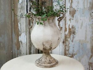 Round French Metal Urn, Rustic Planter w/ Handles, Antique Cream Shabby Chic