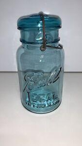 Vintage blue IDEAL Ball WIRE SIDE Quart jar with price sticker #1