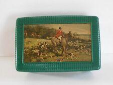 1950s FOX HUNT Scene Cuff Link Box Dresser Coin TRINKET CASE Green Plastic HOUND
