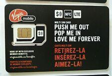 Virgin Mobile CANADA Nano, Micro or Standard Size LTE Combo Sim NEW prepaid card