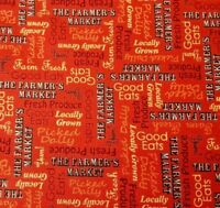 Farmer's Market BTY Angela Anderson Quilting Treasures Words Dark Tomato Red