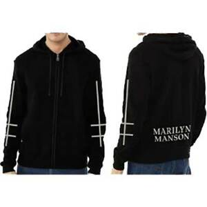 Marilyn Manson Unisex Zipped Hoodie: Cross Logo