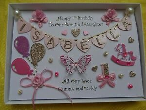 Handmade Personalised Birthday GIRL Card LONG NAME  / any ages + GIFT BOX