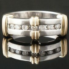 Retro, Two Tone Solid 14K Gold & Channel Set Diamond Band, Estate Ring, NR!