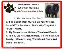 Funny Dog Black Chow Chow  House Rules Refrigerator / Magnet Gift Card Insert