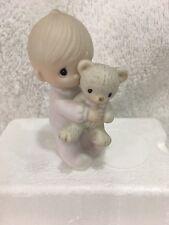 Jesus Loves Me Boy in Pajamas w/ Stuffed Teddy Bear Precious Moments E9278