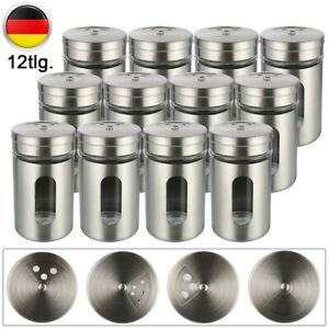 12 Gewürzstreuer Edelstahl Pfeffer Salz Gläser Gewürz Streuer Dosen Glas Box Set