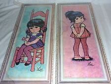 Pair Vintage Lee Big Sad Eye Litho Print Girls on Cork Type Board  10 x 25""
