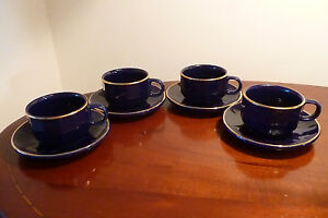 Set of 4 x Classic Blue Gold Rimmed Whittard of Chelsea Espresso cups & saucers