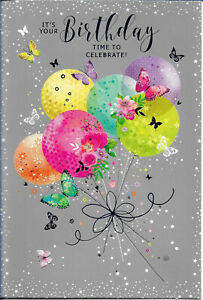 """OPEN FEMALE BIRTHDAY GREETING CARD 7""""X5"""" BALLOONS AND BUTTERFLIES FREE P&P"""