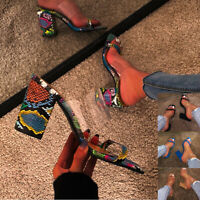 Womens Transparent Block High Heels Evening Party Dress Sandals Shoes Slippers
