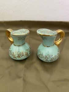 Vintage Aqua W/gold Vase/pitcher Salt & Pepper Shakers, No Damage. Estate Sale
