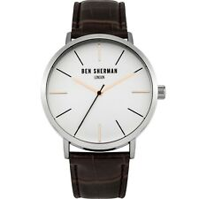 Ben Sherman WB054BR Men's Quartz Watch White Dial Stainless Steel Leather Band