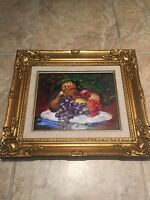 "ORIGINAL Painting by Rita Asfour Signed Oil on Canvas Framed 16""x14"" Still Life"