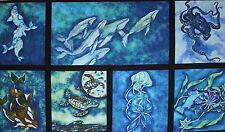 Wilderness Expressions whales dolphins seals ocean 100% Cotton Panel 60 x 112