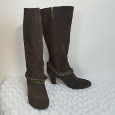 Connie Cecilia Womens Heeled Boots Brown Suede Knee High Zip Up Chain Detail 7.5