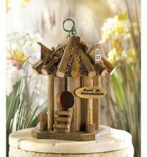 Wooden Garden Bird House Bed And Breakfast Hanging Tree Stand Food Seeds Yard