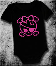 GIRL PINK PIRATE SKULL BABY INFANT TODDLER ONE PIECE