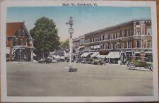 1915 Postcard: 'Main Street, Cars - Randolph, Vermont VT'