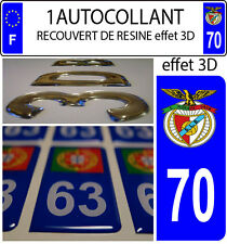 1 sticker plaque immatriculation auto DOMING 3D RESINE BENFICA PORTUGAL DEPA 70