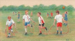 KIDS PLAYING IN PLAYGROUND SKIPPING Drawing SIGNED BKA