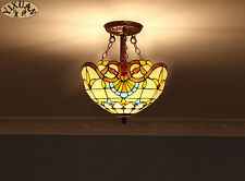 Tiffany Style Baroque Flush Mount Double E27 Light Ceiling Lamp Stained Glass