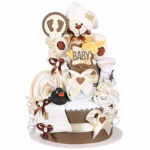 MomsStory - Windeltorte neutral 1.102   Teddy Bär   Baby-Geschenk Geburt Taufe