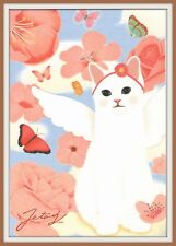 Jetoy Choo Choo Cat Flower WHITE KITTY ANGEL Rose BUTTERFLY Korean Art Postcard